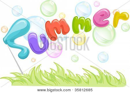 Text Illustration Featuring the Word Summer Surrounded with Bubbles