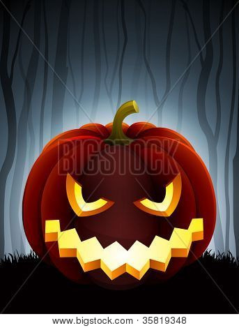 Halloween illustration with pumpkin on dark forest background. Check my portfolio for vector version.