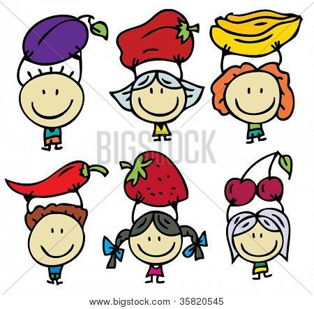 Happy kids with fresh fruits and vegetables