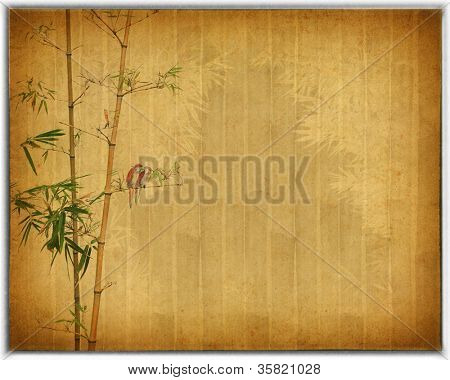 Silhouette of branches of bamboo and birds on paper background