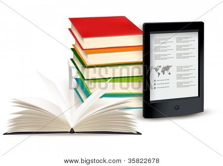 Stack of books with e-book reader. Concept of  Vector illustration.
