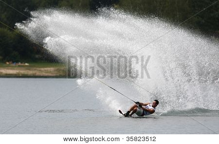 LINZ, AUSTRIA - AUGUST 4: An unidentified wakeboard finalist competes in the Wakeboard World Championship at Ausee in Upperaustria on August 4, 2012 in Linz, Austria.