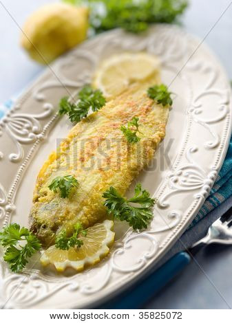 breaded sole fish, selective focus