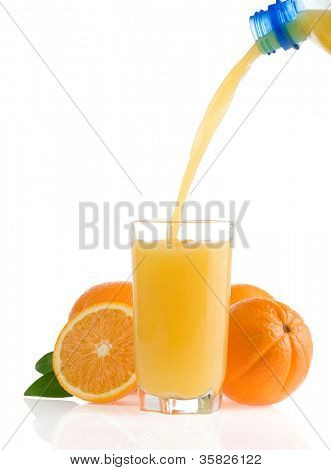outpouring orange juice in glass isolated on white background