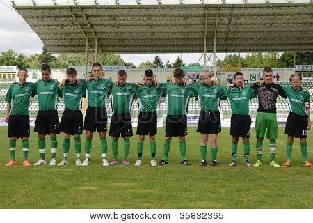 KAPOSVAR, HUNGARY - JULY 21: Kaposvar team before the VIII. Youth Football Festival U14 match Tirgu Mures (pink) (ROM) vs. Kaposvar (green)(HUN) July 21, 2012 in Kaposvar, Hungary