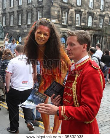 EDINBURGH- AUGUST 11: Member of Squeaky Door Production Company publicize their show Tempest during Edinburgh Fringe Festival on August 11, 2012 in Edinburgh