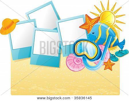 Summer tropical banner, vector illustration