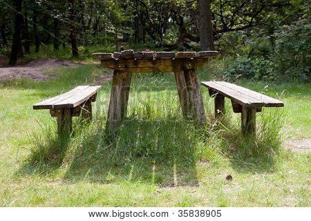 old empty table fot picknick