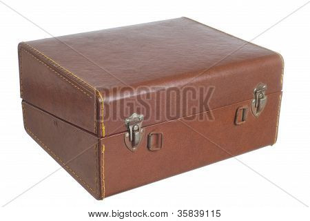 brown old leather box isolated on a white background