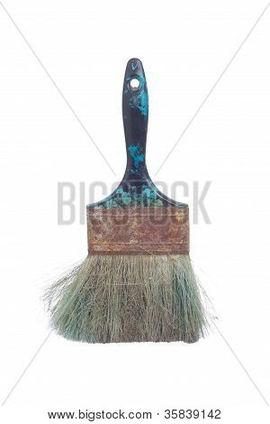 old dirty paintbrush isolated on a white background