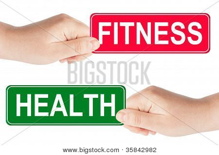 Fitness And Health Traffic Sign In The Hand