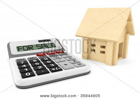 House For Sale Concept. Wooden House With Calculator