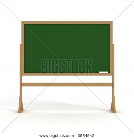 Blackboard With Chalk On A White Background. 3D Image.