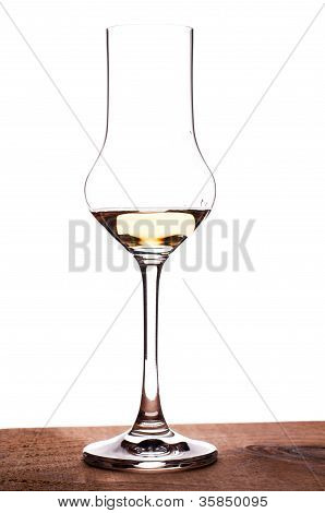 Glass With Grappa In Backglight