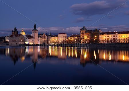 Downtown Prague at sundown