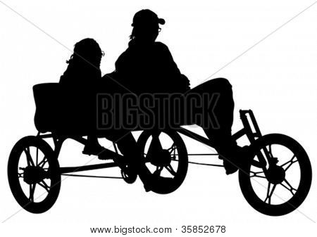 Vector drawing of a man and a woman on trishaw