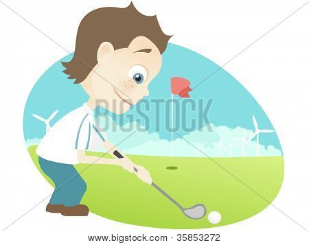 Cartoon Character Cute Teenager Isolated on White Background. Golf. Vector EPS 10.