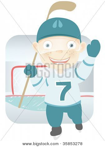 Cartoon Character Cute Teenager Isolated on White Background. Hockey . Vector EPS 10.