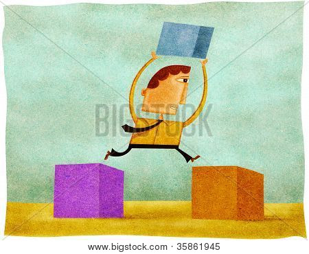 A Man Holding A Block And Jumping From One Block To Another