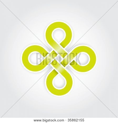 Green eternal knot concept in editable vector format