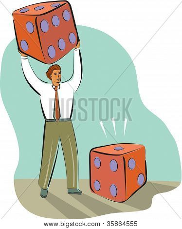 Businessman Rolling Big Dice