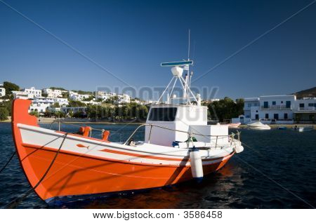 Greek Fishing Boat In Harbor Greece Islands