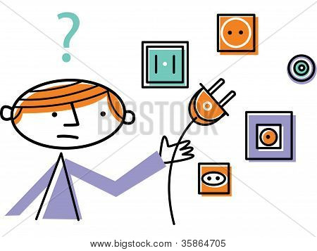Man Holding Plug With Different Plug Sockets