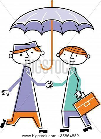 Two Men Shaking Hands Under Umbrella