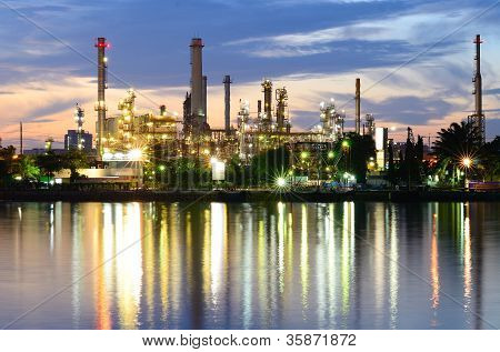 Bangkok Oil Refinery in twilight time