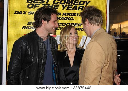 "LOS ANGELES - AUG 14:  Bradley Cooper, Kristen Bell, Dax Shepard arrives at the ""Hit & Run"" Los Angeles Premiere at Regal Cinema on August 14, 2012 in Los Angeles, CA"