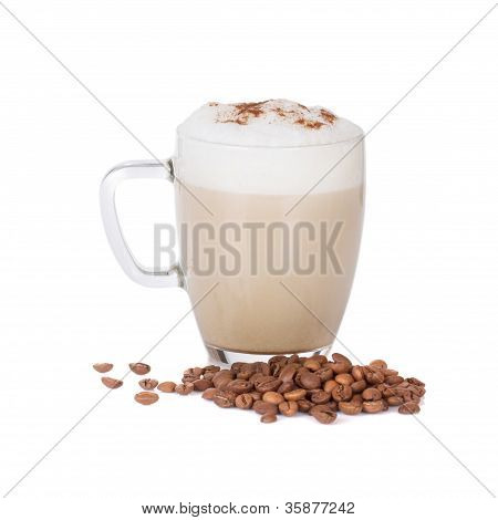 Cup Of Latte Isolated On White