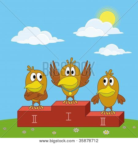 Birds sportsmans on pedestal