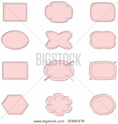 Stickers , set  in the light pink colors.