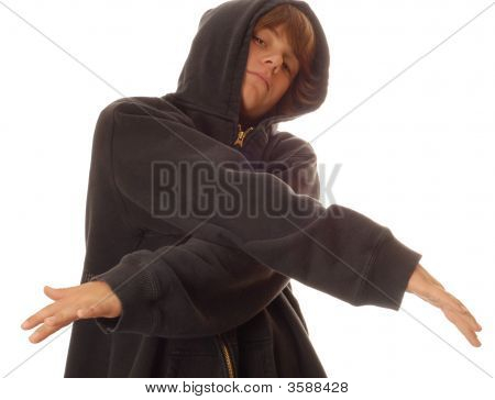 Teen Boy Wearing Hoodie With Attitude