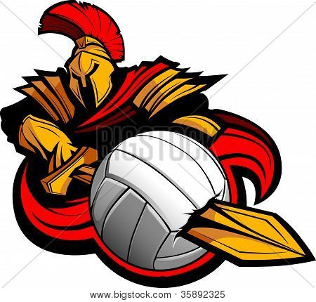 Spartan Volleyball Mascot Body With Sword And Ball Vector Illustration