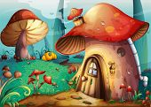 picture of crimini mushroom  - illustration of red mushroom house on a blue background - JPG