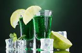 stock photo of absinthe  - Two glasses of absinthe - JPG