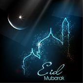 stock photo of ramazan mubarak card  - Beautiful greeting card for Eid Mubarak festival with shiny Mosque and Masjid image - JPG