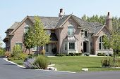 foto of front-entry  - Large suburban brick and stone home with arched entry - JPG