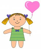 Ragdoll girl with heart balloon