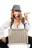 stock photo of mobsters  - Sexy image of blonde woman - JPG