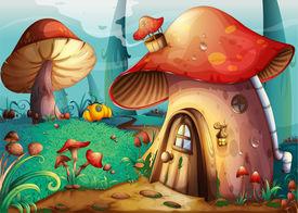 foto of crimini mushroom  - illustration of red mushroom house on a blue background - JPG