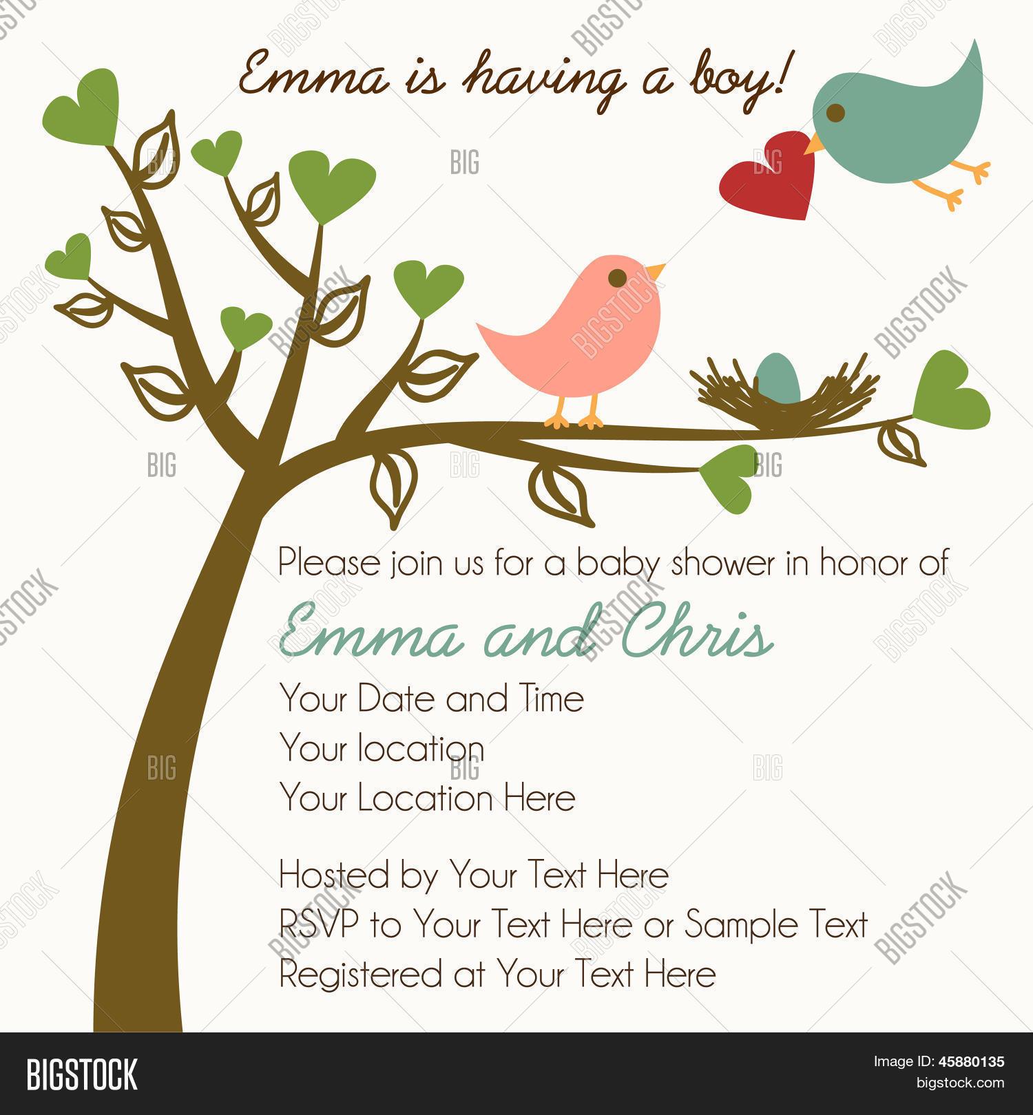 Family Baby Shower Invitations: Bird Family Baby Shower Invitation Vector & Photo