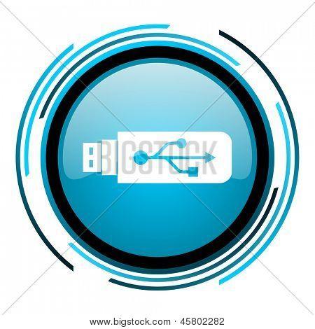 usb blue circle glossy icon