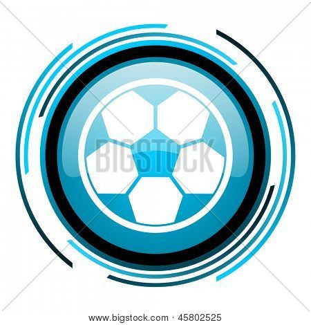 soccer blue circle glossy icon