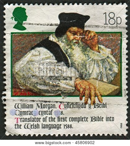 UK - CIRCA 1988: A stamp printed in UK shows image of the Revd William Morgan (Bible translator, 1588), 400th Anniversary of Welsh Bible, circa 1988.