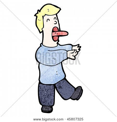 cartoon sleepwalking man