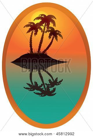 Tropical Island In A Wooden Frame.