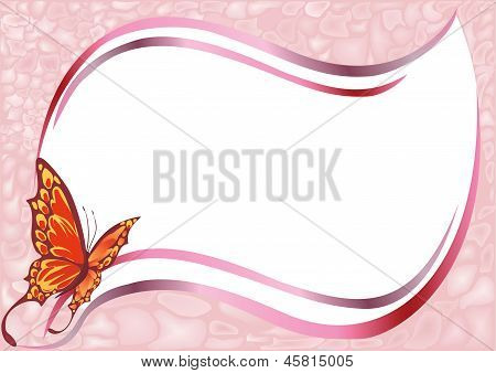 Abstract Frame For Pictures With A Flying Butterfly.