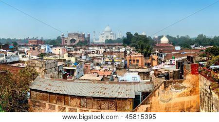 India, Agra city rooftop panorama view of Taj Mahal